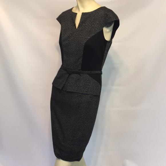 b026d6880c David Meister Dresses   Skirts - David Meister Black peplum belted animal  dress 2